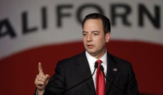 FILE - In this March 14, 2014, file photo, Republican National Committee chairman Reince Priebus gestures while speaking before the California Republican Party 2014 Spring Convention in Burlingame, Calif. Republicans are trying to convert hard-won gains in statehouses to successes in this November's congressional elections and the 2016 race for the White House, according to a review of their campaign finance reports. (AP Photo/Ben Margot, File)