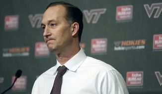 Virginia Tech athletic director Whit Babcock attends a press conference on the Virginia Tech campus in Blacksburg Va., Tuesday March 18 2014. Virginia Tech fired men's basketball coach James Johnson on Monday. (AP Photo / The Roanoke Times, Matt Gentry) LOCAL TV OUT; LOCAL INTERNET OUT; LOCAL PRINT OUT (SALEM TIMES REGISTER; FINCASTLE HERALD; CHRISTIANSBURG NEWS MESSENGER; RADFORD NEWS JOURNAL; ROANOKE STAR SENTINEL