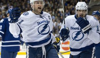 Tampa Bay Lightning center Steve Stamkos, left, celebrates his second goal of the period with teammate Alex Killorn during first period NHL action against the Toronto Maple Leafs in Toronto on Wednesday March 19, 2014. (AP Photo/The Canadian Press, Frank Gunn)