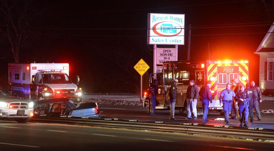 Maryland State Police are investigating a trooper involved shooting that fatally wounded a man who may have struck or dragged a trooper with his car while trying to avoid further police investigation at the Salisbury Barrack Tuesday night March 18, 2014.   (AP Photo/The Daily Times, Todd Dudek)