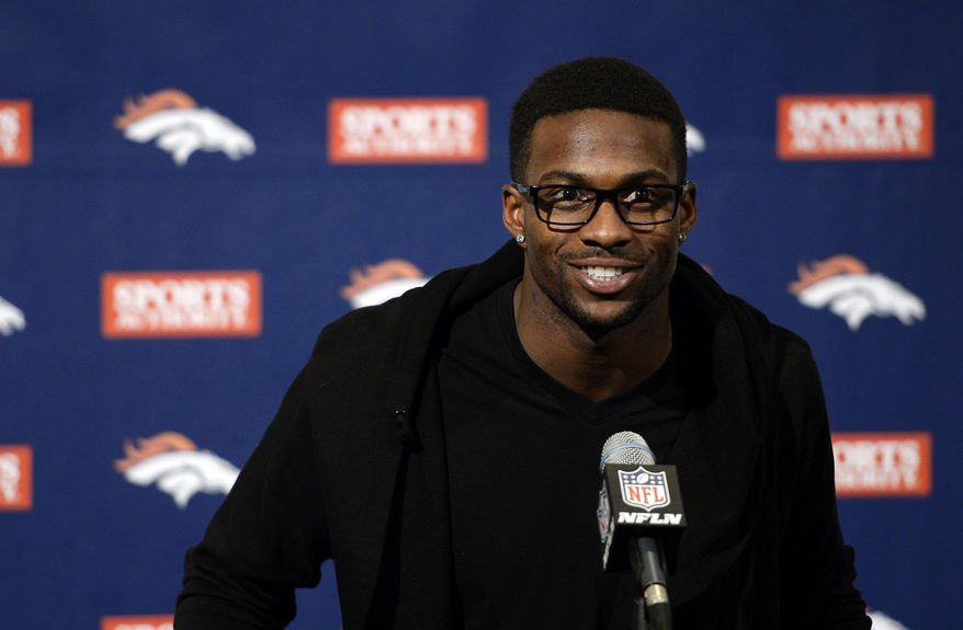Emmanuel Sanders speaks during an NFL football news conference Sunday, March 16, 2014, in Englewood, Co. Sanders signed a three-year, $15 million contract with the Denver Broncos. (AP Photo/The Denver Post, John Leyba) MAGS OUT; TV OUT; INTERNET OUT; NO SALES; NEW YORK POST OUT; NEW YORK DAILY NEWS OUT
