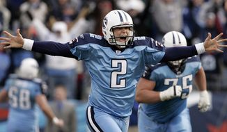 FILE - This Dec. 3, 2006 file photo shows Tennessee Titans kicker Rob Bironas (2) running off the field after kicking a 60-yard field goal to beat the Indianapolis Colts 20-17  in an NFL football game in Nashville, Tenn. The Titans announced Wednesday, March 19, 2014, that they have waived Bironas. (AP Photo/Mark Humphrey, File)