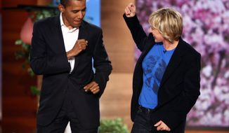 """**FILE** In this photo released by the """"The Ellen DeGeneres Show,"""" Barack Obama dances with host Ellen DeGeneres before the show taping on Oct. 17, 2007. (Associated Press/Mike Rozman/Warner Bros.)"""