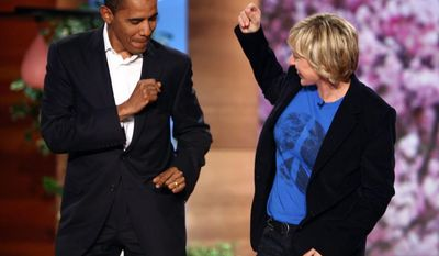 "**FILE** In this photo released by the ""The Ellen DeGeneres Show,"" Barack Obama dances with host Ellen DeGeneres before the show taping on Oct. 17, 2007. (Associated Press/Mike Rozman/Warner Bros.)"