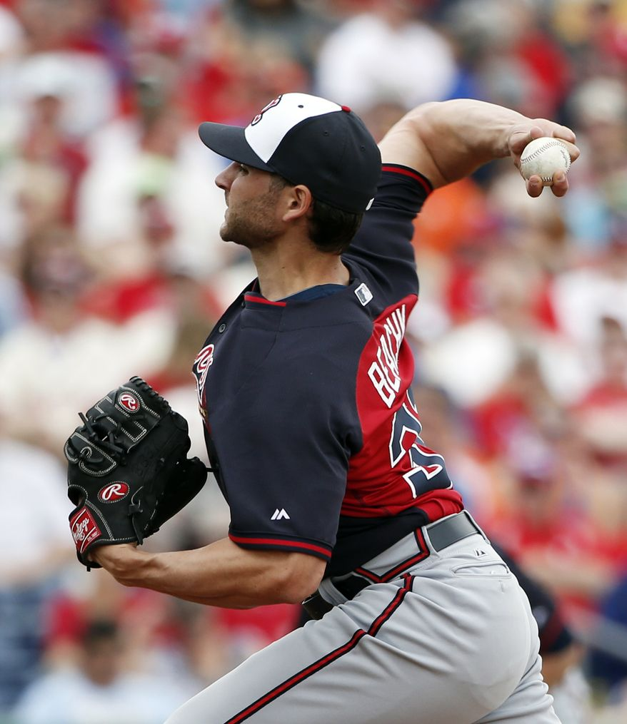 Atlanta Braves starting pitcher Brandon Beachy delivers against the Philadelphia Phillies in a spring exhibition baseball game in Clearwater, Fla., Monday, March 10, 2014. Beachy left early because of tightness around his right elbow. (AP Photo/Kathy Willens)