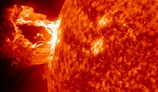 ** FILE ** A solar eruption on April 16, 2012, which was captured by NASA's Solar Dynamics Observatory. (NASA)