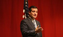 U.S. Sen. Ted Cruz, R.-Texas, speaks at a Cerro Gordo County Republican fundraiser at the Music Man Square in Mason City, Iowa Tuesday, night, March 18, 2014. This is his fourth trip to Iowa in barely eight months _ and though he has refused to comment on a possible 2016 White House run, Cruz logging so much face time in the state that kicks off presidential voting hasn't gone unnoticed.   (AP Photo/Globe Gazette, Jeff Heinz).