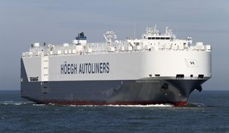 "In this undated handout picture made available by hoegh.com via NTB Scanpix on Thursday, March 20, 2014, of autoliner ""Hoegh St. Petersburg"" which is expected to reach an area south west of Australia where possible debris of missing airliner MH370 has been spotted. The ship is expected to arrive in the area in the course of Thursday March 20, 2014. (AP Photo/hoegh.com/ NTB scanpix) NORWAY OUT"