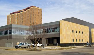 ADVANCE FOR SATURDAY, MARCH 22 AND THEREAFTER - Mayo Clinic's Richard O. Jacobson Proton Therapy Center wil open in 2015 in Rochester, Minn. (AP Photo/Rochester Post-Bulletin, Jerry Olson.)