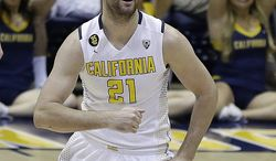California's Jeff Powers celebrates a score against Utah Valley in the second half of an NCAA college basketball game in the NIT tournament, Wednesday, March 19, 2014, in Berkeley, Calif. (AP