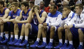 American players on bench watch during the second half of a second-round game against the Wisconsin in the NCAA college basketball tournament Thursday, March 20, 2014, in Milwaukee. Wisconsin won 75-35. (AP Photo/Morry Gash)