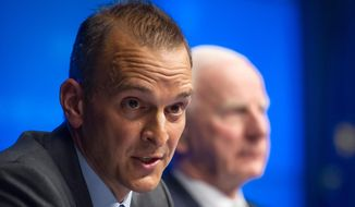 FILE - This is a Friday, May 17, 2013   file photo of the head of the U.S. Anti-Doping Agency Travis Tygart as he addresses the media at the EU Council in Brussels . Tygart  the man who brought down Lance Armstrong,  said Thursday March 20, 2014 that time is running out for cycling to confront its culture of doping and clean up the sport once and for all. (AP Photo/Geert Vanden Wijngaert, File)