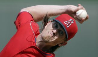 Los Angeles Angels starting pitcher Jered Weaver throws during the second inning of a spring exhibition baseball game against the Kansas City Royals, Thursday, March 20, 2014, in Surprise, Ariz. (AP Photo/Darron Cummings)