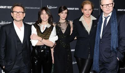 """Actors, from left, Christian Slater, Charlotte Gainsbourg, Stacy Martin, Uma Thurman and Stellan Skarsgard attend the premiere of """"Nymphomaniac: Volume I"""" at The Museum of Modern Art on Thursday, March 13, 2014 in New York. (Photo by Evan Agostini/Invision/AP)"""