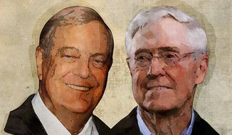 Koch Brothers Illustration by Greg Groesch/The Washington Times