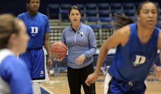 Duke coach Joanne P. McCallie, center, watches during practice for the NCAA women's college basketball tournament in Durham, N.C., Friday, March 21, 2014.  Duke faces Winthrop in the first round on Saturday. (AP Photo/Ted Richardson)