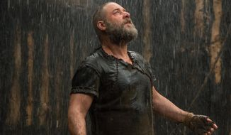 "This image released by Paramount Pictures shows Russell Crowe as Noah in a scene from the film, ""Noah."" (AP Photo/Paramount Pictures, Niko Tavernise)"