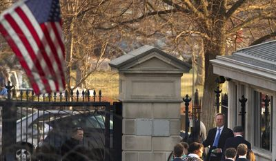 Tech company CEO's including Google CEO Eric Schmidt, center of group in blue tie, walk to exit the Soutwest Gate of the White House after meeting with President Barack Obama at the White House in Washington, Friday, March 21, 2014. (AP Photo/Jacquelyn Martin)
