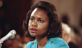 "FILE - This Oct. 11, 1991 file photo shows University of Oklahoma law professor Anita Hill testifying before the Senate Judiciary Committee on Capitol Hill in Washington. Hill made national headlines in 1991 when she testified that then-Supreme Court nominee Clarence Thomas had sexually harassed her. Now, more than 20 years later, director Freida Mock explores Hill's landmark testimony and the resulting social and political changes in the documentary ""Anita."" (AP Photo/Greg Gibson)"