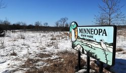 """This March 13 ,2014 photo shows the large prairie area of Minneopa State Park near Mankato, Minn.  Minneopa State Park's expansive prairie could become home to a bison herd if approved by the Department of Natural Resources following a public comment period. """"If we get bison, it would increase our prairie management efforts (at Minneopa),"""" said Molly Tranel Nelson, regional resource specialist for parks and trails. """"And we want to increase opportunities for visitors. It would allow visitors to have that experience and interpretation, to see a little of what the area looked like prior to settlement."""" Most importantly, the effort would help expand and protect genetically pure bison.  (AP Photo/The Mankato Free Press, Pat Christman)"""