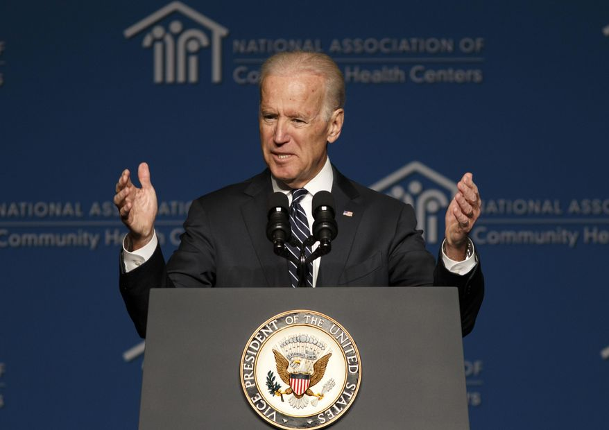 Vice President Joe Biden thanks the National Association of Community Health Centers for their work in helping people sign up for health care under the Affordable Care Act, during their meeting in Washington, Friday, March 21, 2014. Though he did not talk specifically about the Ukraine crisis, Biden said he was nursing a sinus infection following his trip this week to Poland and Lithuania to reassure jittery Eastern European allies unnerved by the Russian takeover of Crimea in Ukraine.  (AP Photo/J. Scott Applewhite)