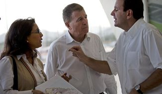 """Rio de Janeiro's Eduardo Paes, right, talks with Nawal El Moutawakel, head of the International Olympic Committee (IOC) Evaluation Commission, center, and International Olympic Committee (IOC) Executive Director for the Olympic Games, Gilbert Felli during a visit to the Olympic Park in Rio de Janeiro, Brazil, Thursday, March 20, 2014. With IOC officials in Rio de Janeiro on to monitor progress on the 2016 Olympics, the city's mayor acknowledged that work on a large cluster of venues is far behind schedule. Paes made his remarks as Nawal El Moutawakel reminded Rio officials that the recent Sochi Winter Olympics showcased """"meticulous planning."""" She urged Rio organizers to meet deadlines and to explain clearly to the Brazilian public why it should back the games. (AP Photo/Silvia Izquierdo)"""