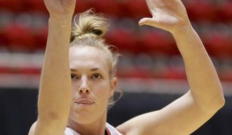 Stanford's Taylor Greenfield (4) shoots the ball during practice for the women's NCAA college basketball tournament in Ames, Iowa, Friday, March 21, 2014. Stanford plays against South Dakota in a first-round game on Saturday. (AP Photo/Nati Harnik)