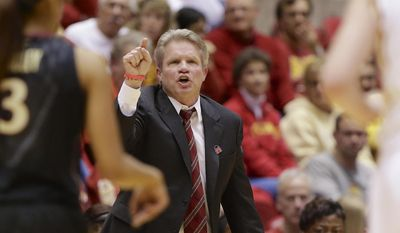 Iowa State coach Bill Fennelly yells instructions in the first half of a first-round game in the NCAA women's college basketball tournament against Florida State in Ames, Iowa, Saturday, March 22, 2014. (AP Photo/Nati Harnik)