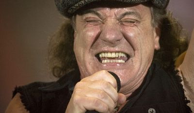 FILE - Brian Johnson, lead singer of Australian rock band AC/DC, performs during a concert at the Hallestadion in Zurich, Switzerland, in this April 6, 2009 file photo. (AP Photo/KEYSTONE/Ennio Leanza, File)