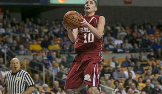 Bluefield's Anthony Eades (10) drives in for a layup during the first half of the Class AA West Virginia boys' state championship high school basketball game against Robert C. Byrd, Saturday, March 22, 2014 in Charleston, W.Va. (AP Photo/Michael Switzer)