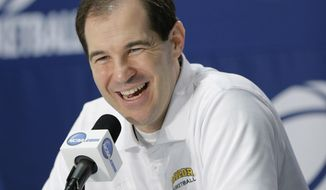 Baylor coach Scott Drew answers questions during an NCAA college basketball tournament news conference, Saturday, March 22, 2014, in San Antonio. Baylor will play Creighton Sunday. (AP Photo/Eric Gay)