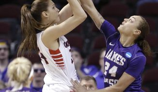Gonzaga 's Sunny Greinacher (14) shoots over James Madison 's Jazmon Gwathmey (24) in the first half Sunday, March 23, 2014, in a first-round NCAA women's basketball game in College Station, Texas.  (AP Photo/Pat Sullivan)