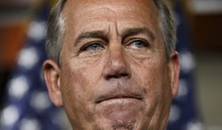 ** FILE ** In this March 13, 2014 file photo, House Speaker John Boehner of Ohio holds a news conference on Capitol Hill in Washington. (AP Photo/J. Scott Applewhite)