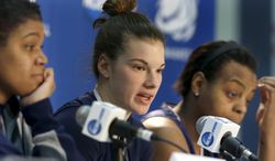 Penn State's Maggie Lucas, center, sits with teammate Talia East, right, and coach Coquese Washington as she answers questions at a news conference on Monday, March 24, 2014, in State College, Pa. They answered questions about their second-round game against Florida in the NCAA college basketball tournament scheduled for Tuesday. (AP Photo/Keith Srakocic)