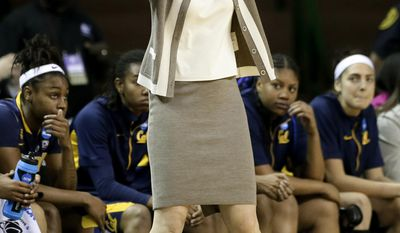 California head coach Lindsay Gottlieb gestures as she argues a call against her team with an official during the first half of a second-round game in the NCAA women's college basketball tournament, Monday, March 24, 2014, in Waco, Texas. (AP Photo/Tony Gutierrez)