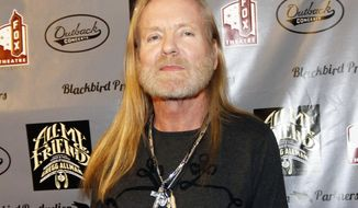 FILE - This Jan. 10, 2014 file photo shows musician Gregg Allman on the red carpet at All My Friends: Celebrating The Songs and Voice of Gregg Allman tribute in Atlanta. The Allman Brothers have postponed the remainder of their Beacon Theatre run this week due to Gregg Allman's illness. A Monday, March 24, news release says Allman is recovering from a case of bronchitis that already forced the postponement of concerts last Friday and Saturday. (Photo by Dan Harr/Invision/AP, File)