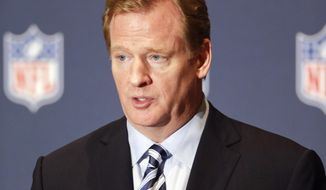 NFL Commissioner Roger Goodell voices support to help grow youth football during a news conference at the NFL annual meeting in Orlando, Fla., Monday, March 24, 2014. (AP Photo/John Raoux)