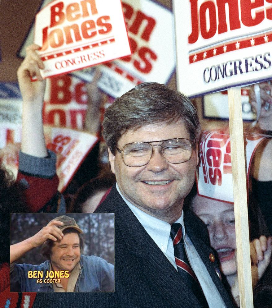 "** FILE ** Ben Jones, the actor who played Cooter Davenport in the TV show ""The Dukes of Hazzard,"" was elected for a congressional seat in Georgia's fourth district. He served two terms, but then lost a third bid in 1994. (AP Photo/Peter Schumacher)"