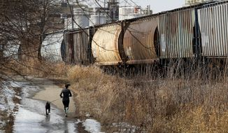 A line of rail cars containing grain are stationed along a Wisconsin Southern Railway track in Cottage Grove, Wis. as they await shipment to Chicago Friday, March 21, 2014. The rail industry has been facing reliability issues caused by increased demand and frigid winter weather conditions that cracked tracks, froze switches and forced tightened safety measures such as running trains with fewer cars. (AP Photo/Wisconsin State Journal, John Hart)