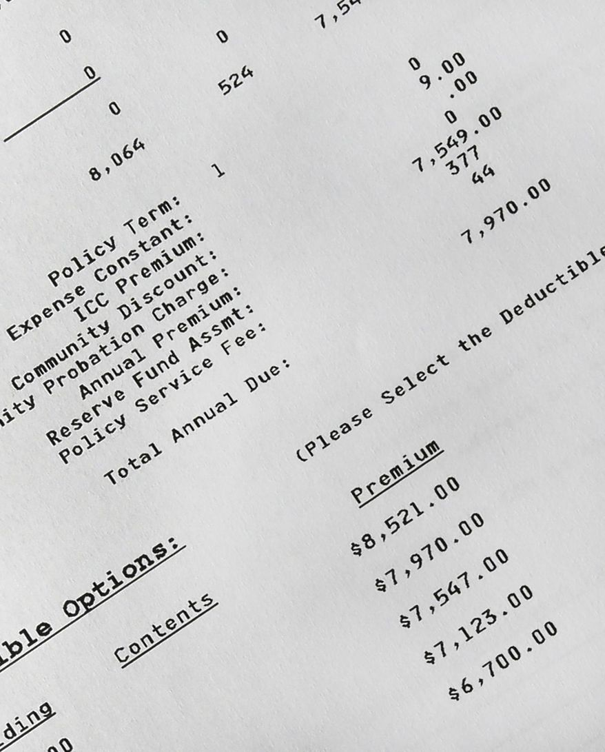 This detail of an insurance form shows the cost of flood insurance for Regina Bachman's home in Loveland, Ohio on Friday, March 21, 2014. After stretching her finances to buy a $95,000 home near a creek in September 2013, she was belatedly hit with an annual flood insurance bill of $7,900. The previous owner had paid under $700. (AP Photo/Al Behrman)
