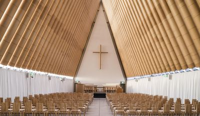 This undated image released by the Pritzker Prize shows a cardboard cathedral in New Zealand designed by Tokyo-born architect Shigeru Ban, 56, the recipient of the 2014 Pritzker Architecture Prize. (AP Photo/Pritzker Prize, Stephen Goodenough)