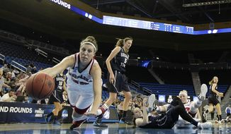 Nebraska's Jordan Hooper, left, goes after a loose ball against BYU during the first half of a second-round game in the NCAA women's college basketball tournament on Monday, March 24, 2014, in Los Angeles. (AP Photo/Jae C. Hong)