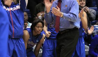 DePaul head women's basketball coach Doug Bruno watches his team pull further ahead during the second half of Duke's 74-65 loss in their second-round game in the NCAA basketball tournament in Durham, N.C., Monday, March 24, 2014.  (AP Photo/Ted Richardson)