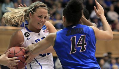 Duke's Tricia Liston is pressured by DePaul's Jessica January during the second half of Duke's 74-65 loss in their second-round game in the NCAA basketball tournament in Durham, N.C., Monday, March 24, 2014.  (AP Photo/Ted Richardson)