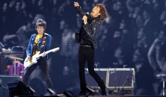 ** FILE ** In this Feb. 26, 2014 file photo, the Rolling Stones perform during their concert at Tokyo Dome in Tokyo. Israeli concert promoter Shuki Weiss said Tuesday, March 25, 2014, that the legendary band will play in Tel Aviv on June 4, 2014. (AP Photo/Shizuo Kambayashi, File)