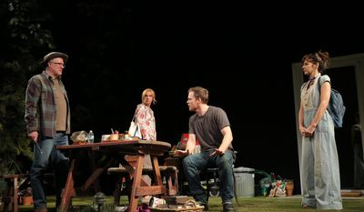 """This image released by Jeffrey Richards Associates shows, from left, Tracy Letts, Toni Collette, Michael C. Hall and Marisa Tomei during a scene from """"The Realistic Joneses,"""" at the Lyceum Theatre in New York.  (AP Photo/Jeffrey Richards Associates, Joan Marcus)"""