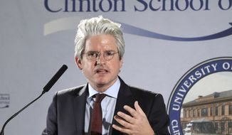 David Brock, founder of Media Matters for America, speaks at the Clinton School of Public Service in Little Rock, Ark., on March 25, 2014. Brock is a former Clinton critic who has since spearheaded efforts to defend Bill and Hillary Clinton. (Associated Press) ** FILE **