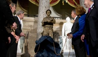 From left, House Minority Leader Nancy Pelosi of Calif., Senate Minority Leader Mitch McConnell of Ky., Agriculture Secretary Tom Vilsack, House Speaker John Boehner of Ohio, Jeanie Borlaug Laube, daughter of Dr. Norman E. Borlaug, and Iowa Gov. Terry Branstad, look to a statue of the late Dr. Norman E. Borlaug during its unveiling in National Statuary Hall on Capitol Hill in Washington, Tuesday, March 25, 2014. (AP Photo/Carolyn Kaster)