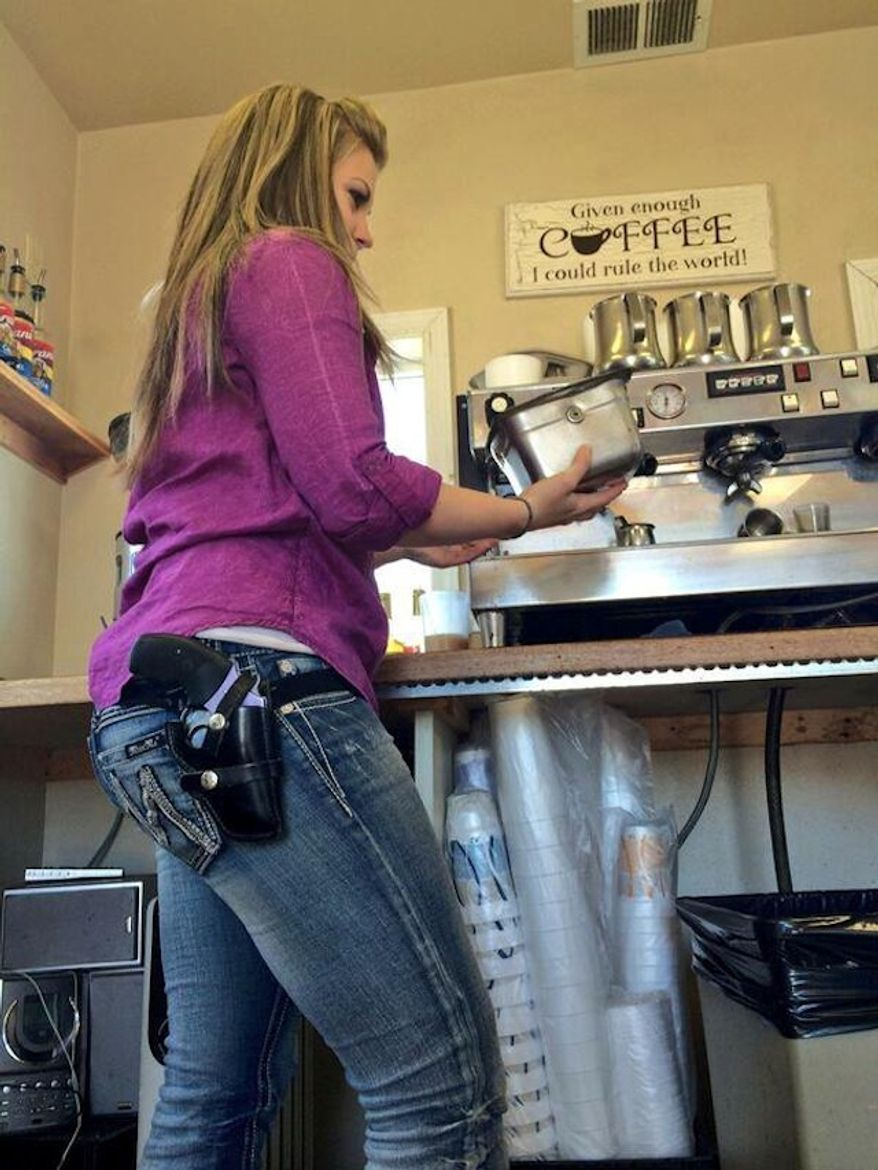 Jitterz Java employee Krystal Cogswell carries a .38 Special Lavender Lady on her hip. (KXLY 4 News)