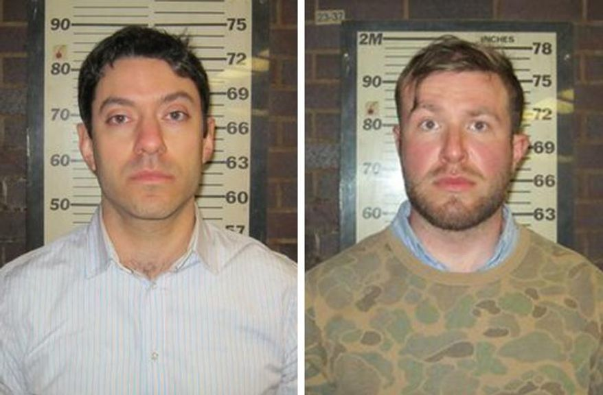 In this combination of two photos provided by the Port Authority of New York and New Jersey Police Department, Cable News Network producers Yon Pomrenze, left, and Connor Fieldman Boals, are shown after their arrests on Tuesday, March 25, 2014. Both men have been charged with criminal trespass, obstruction of governmental administration and disorderly conduct after trying to forcibly push their way through a controlled gate at the World Trade Center Construction site in New York City. A spokeswoman for CNN said the men were in the area to do a story about the recent security breaches and were not asked to sneak onto the site. (AP Photo/Port Authority of New York and New Jersey)
